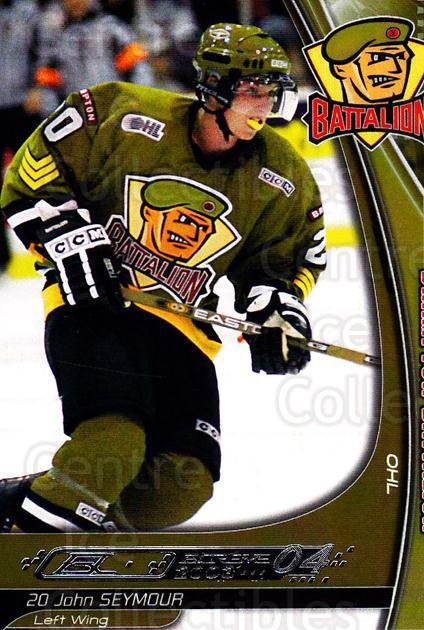 2003-04 Brampton Battalion #19 John Seymour<br/>1 In Stock - $3.00 each - <a href=https://centericecollectibles.foxycart.com/cart?name=2003-04%20Brampton%20Battalion%20%2319%20John%20Seymour...&price=$3.00&code=670248 class=foxycart> Buy it now! </a>