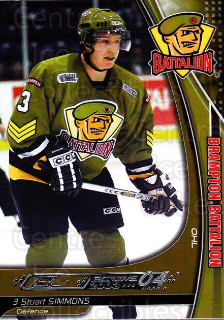 2003-04 Brampton Battalion #20 Stuart Simmons<br/>1 In Stock - $3.00 each - <a href=https://centericecollectibles.foxycart.com/cart?name=2003-04%20Brampton%20Battalion%20%2320%20Stuart%20Simmons...&price=$3.00&code=670249 class=foxycart> Buy it now! </a>