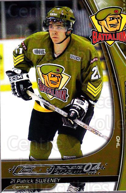 2003-04 Brampton Battalion #22 Patrick Sweeney<br/>1 In Stock - $3.00 each - <a href=https://centericecollectibles.foxycart.com/cart?name=2003-04%20Brampton%20Battalion%20%2322%20Patrick%20Sweeney...&price=$3.00&code=670251 class=foxycart> Buy it now! </a>