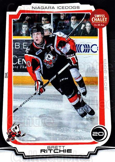 2012-13 Niagara IceDogs #12 Brett Ritchie<br/>1 In Stock - $3.00 each - <a href=https://centericecollectibles.foxycart.com/cart?name=2012-13%20Niagara%20IceDogs%20%2312%20Brett%20Ritchie...&quantity_max=1&price=$3.00&code=670574 class=foxycart> Buy it now! </a>