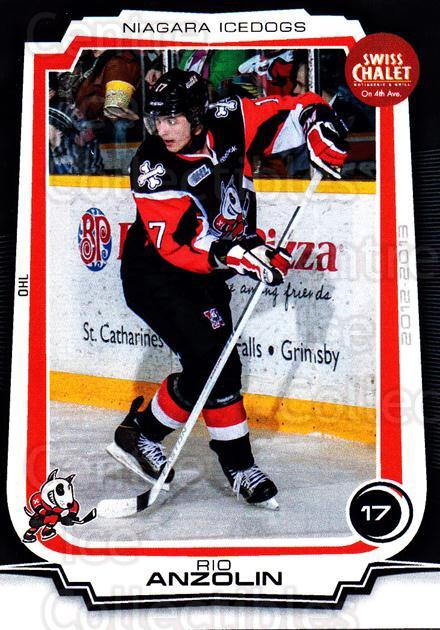 2012-13 Niagara IceDogs #15 Rio Anzolin<br/>1 In Stock - $3.00 each - <a href=https://centericecollectibles.foxycart.com/cart?name=2012-13%20Niagara%20IceDogs%20%2315%20Rio%20Anzolin...&price=$3.00&code=670577 class=foxycart> Buy it now! </a>