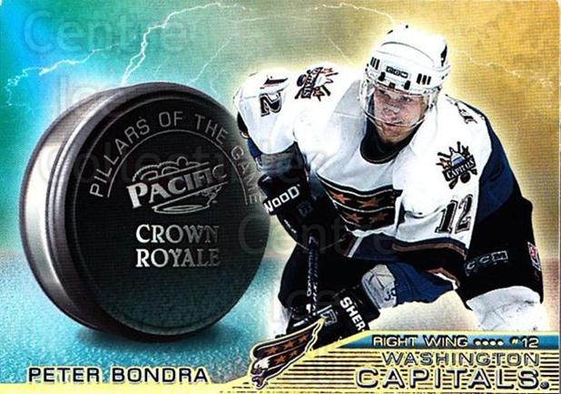 1998-99 Crown Royale Pillars of the Game #25 Peter Bondra<br/>4 In Stock - $2.00 each - <a href=https://centericecollectibles.foxycart.com/cart?name=1998-99%20Crown%20Royale%20Pillars%20of%20the%20Game%20%2325%20Peter%20Bondra...&quantity_max=4&price=$2.00&code=67064 class=foxycart> Buy it now! </a>