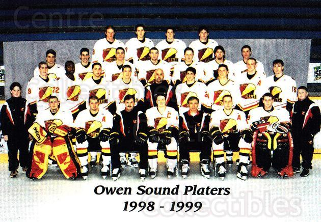 1998-99 Owen Sound Platers #28 Team Photo<br/>1 In Stock - $2.00 each - <a href=https://centericecollectibles.foxycart.com/cart?name=1998-99%20Owen%20Sound%20Platers%20%2328%20Team%20Photo...&price=$2.00&code=670719 class=foxycart> Buy it now! </a>