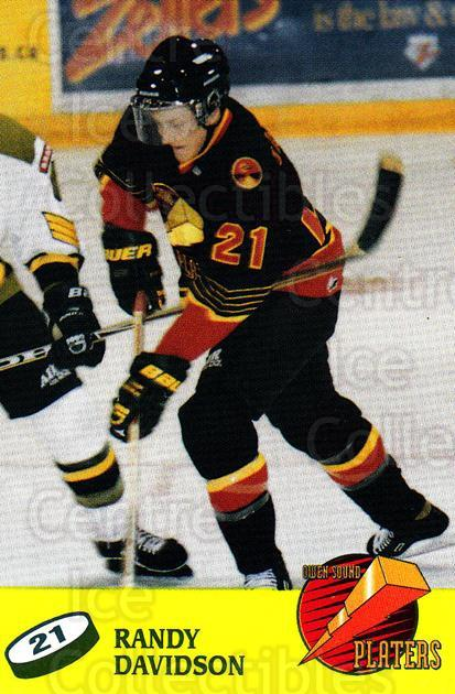 1998-99 Owen Sound Platers #5 Randy Davidson<br/>1 In Stock - $3.00 each - <a href=https://centericecollectibles.foxycart.com/cart?name=1998-99%20Owen%20Sound%20Platers%20%235%20Randy%20Davidson...&quantity_max=1&price=$3.00&code=670737 class=foxycart> Buy it now! </a>