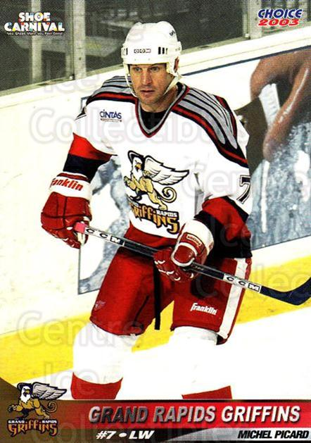 2002-03 Grand Rapids Griffins #21 Michel Picard<br/>1 In Stock - $3.00 each - <a href=https://centericecollectibles.foxycart.com/cart?name=2002-03%20Grand%20Rapids%20Griffins%20%2321%20Michel%20Picard...&price=$3.00&code=670794 class=foxycart> Buy it now! </a>