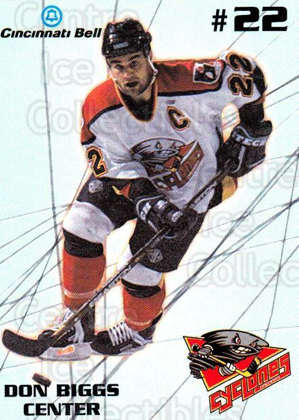 1997-98 Cincinnati Cyclones #1 Don Biggs<br/>1 In Stock - $3.00 each - <a href=https://centericecollectibles.foxycart.com/cart?name=1997-98%20Cincinnati%20Cyclones%20%231%20Don%20Biggs...&quantity_max=1&price=$3.00&code=670842 class=foxycart> Buy it now! </a>