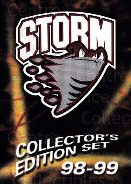 1998-99 Guelph Storm #1 Header, Checklist<br/>1 In Stock - $3.00 each - <a href=https://centericecollectibles.foxycart.com/cart?name=1998-99%20Guelph%20Storm%20%231%20Header,%20Checkli...&quantity_max=1&price=$3.00&code=670946 class=foxycart> Buy it now! </a>