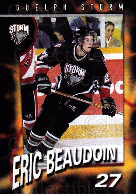 1998-99 Guelph Storm #22 Eric Beaudoin<br/>1 In Stock - $3.00 each - <a href=https://centericecollectibles.foxycart.com/cart?name=1998-99%20Guelph%20Storm%20%2322%20Eric%20Beaudoin...&quantity_max=1&price=$3.00&code=670967 class=foxycart> Buy it now! </a>