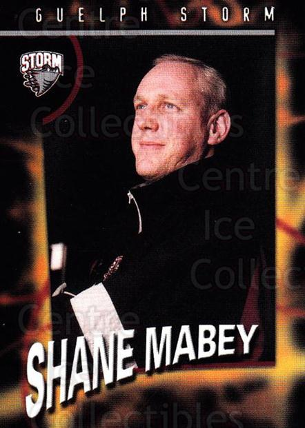 1998-99 Guelph Storm #26 Shane Mabey<br/>1 In Stock - $3.00 each - <a href=https://centericecollectibles.foxycart.com/cart?name=1998-99%20Guelph%20Storm%20%2326%20Shane%20Mabey...&quantity_max=1&price=$3.00&code=670971 class=foxycart> Buy it now! </a>