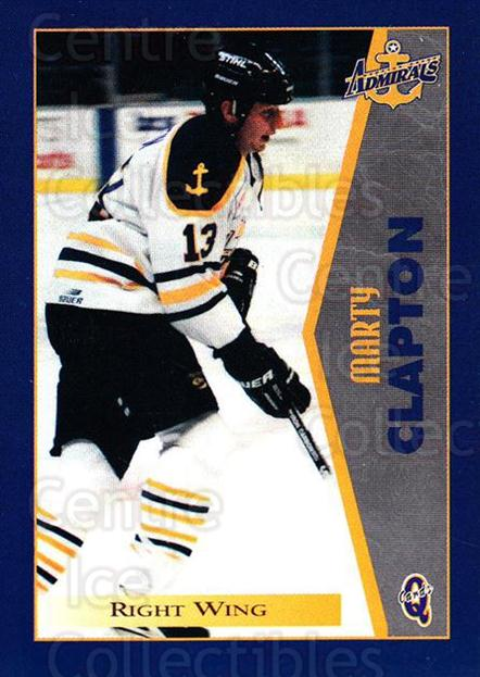 1997-98 Hampton Roads Admirals #7 Marty Clapton<br/>1 In Stock - $3.00 each - <a href=https://centericecollectibles.foxycart.com/cart?name=1997-98%20Hampton%20Roads%20Admirals%20%237%20Marty%20Clapton...&quantity_max=1&price=$3.00&code=670988 class=foxycart> Buy it now! </a>