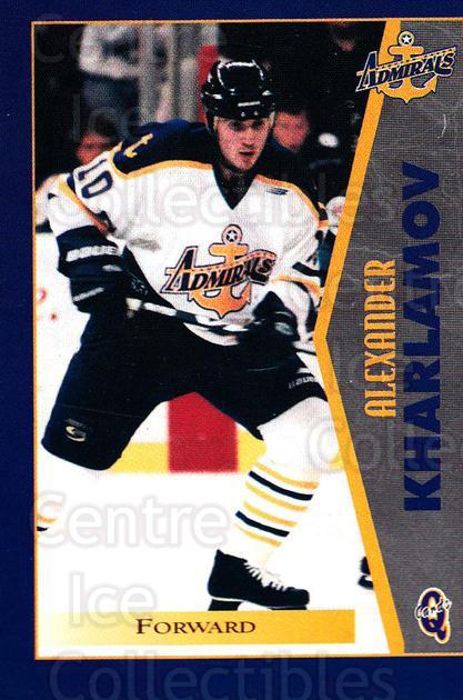 1997-98 Hampton Roads Admirals #9 Alexander Kharlamov<br/>1 In Stock - $3.00 each - <a href=https://centericecollectibles.foxycart.com/cart?name=1997-98%20Hampton%20Roads%20Admirals%20%239%20Alexander%20Kharl...&quantity_max=1&price=$3.00&code=670990 class=foxycart> Buy it now! </a>