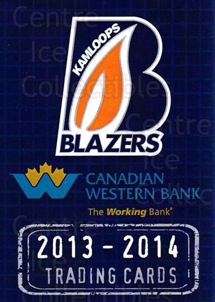 2013-14 Kamloops Blazers #1 Header Card<br/>1 In Stock - $3.00 each - <a href=https://centericecollectibles.foxycart.com/cart?name=2013-14%20Kamloops%20Blazers%20%231%20Header%20Card...&price=$3.00&code=671090 class=foxycart> Buy it now! </a>