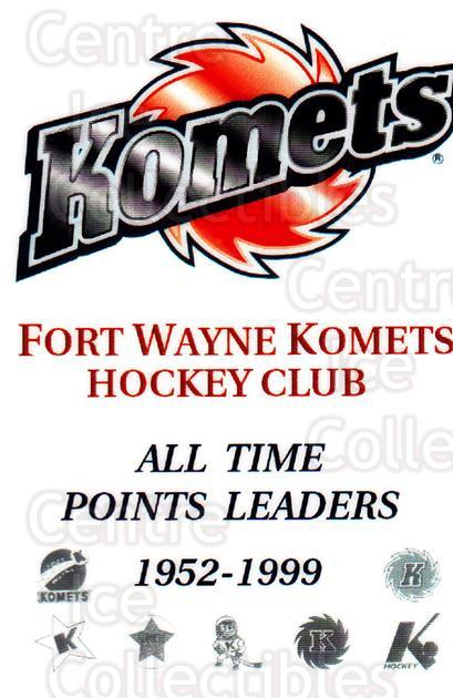 1999-00 Fort Wayne Komets All-Time Point #1 Header Card<br/>1 In Stock - $3.00 each - <a href=https://centericecollectibles.foxycart.com/cart?name=1999-00%20Fort%20Wayne%20Komets%20All-Time%20Point%20%231%20Header%20Card...&price=$3.00&code=671165 class=foxycart> Buy it now! </a>
