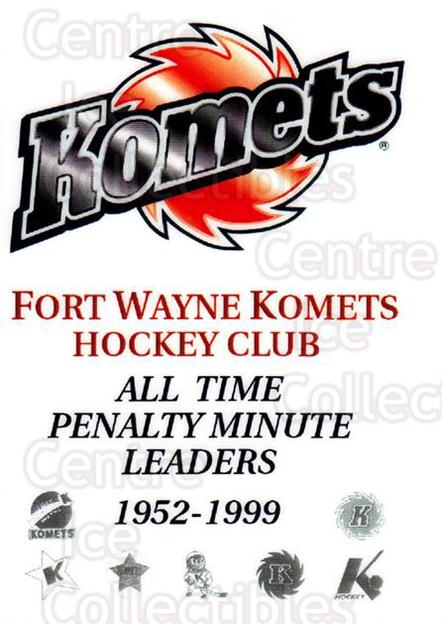 1999-00 Fort Wayne Komets All-Time Penalty #1 Header Card<br/>1 In Stock - $3.00 each - <a href=https://centericecollectibles.foxycart.com/cart?name=1999-00%20Fort%20Wayne%20Komets%20All-Time%20Penalty%20%231%20Header%20Card...&price=$3.00&code=671181 class=foxycart> Buy it now! </a>