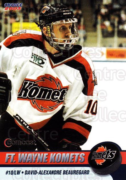 2002-03 Fort Wayne Komets Choice #2 David Beauregard<br/>1 In Stock - $3.00 each - <a href=https://centericecollectibles.foxycart.com/cart?name=2002-03%20Fort%20Wayne%20Komets%20Choice%20%232%20David%20Beauregar...&quantity_max=1&price=$3.00&code=671247 class=foxycart> Buy it now! </a>
