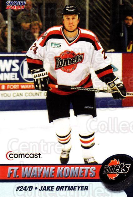 2002-03 Fort Wayne Komets Choice #13 Jake Ortmeyer<br/>1 In Stock - $3.00 each - <a href=https://centericecollectibles.foxycart.com/cart?name=2002-03%20Fort%20Wayne%20Komets%20Choice%20%2313%20Jake%20Ortmeyer...&quantity_max=1&price=$3.00&code=671258 class=foxycart> Buy it now! </a>