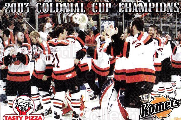 2003-04 Fort Wayne Komets Champions #7 Team Photo<br/>1 In Stock - $2.00 each - <a href=https://centericecollectibles.foxycart.com/cart?name=2003-04%20Fort%20Wayne%20Komets%20Champions%20%237%20Team%20Photo...&price=$2.00&code=671277 class=foxycart> Buy it now! </a>