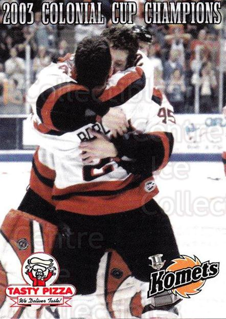 2003-04 Fort Wayne Komets Champions #12 Marc Barlow, Tom Lawson<br/>1 In Stock - $3.00 each - <a href=https://centericecollectibles.foxycart.com/cart?name=2003-04%20Fort%20Wayne%20Komets%20Champions%20%2312%20Marc%20Barlow,%20To...&price=$3.00&code=671282 class=foxycart> Buy it now! </a>