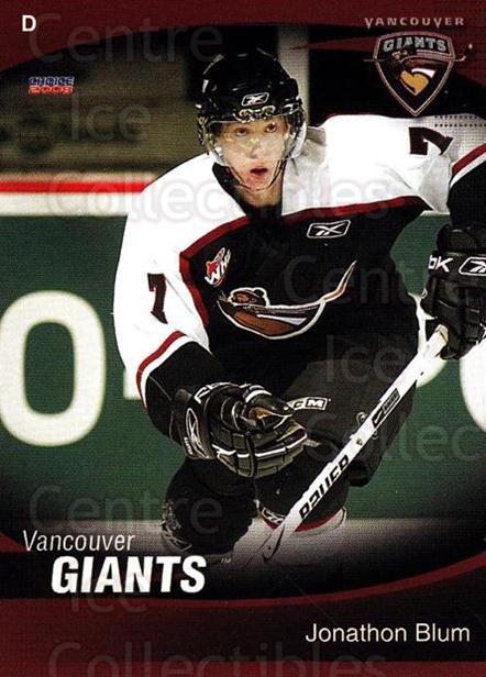 2007-08 Vancouver Giants #4 Jonathon Blum<br/>1 In Stock - $3.00 each - <a href=https://centericecollectibles.foxycart.com/cart?name=2007-08%20Vancouver%20Giants%20%234%20Jonathon%20Blum...&quantity_max=1&price=$3.00&code=671338 class=foxycart> Buy it now! </a>
