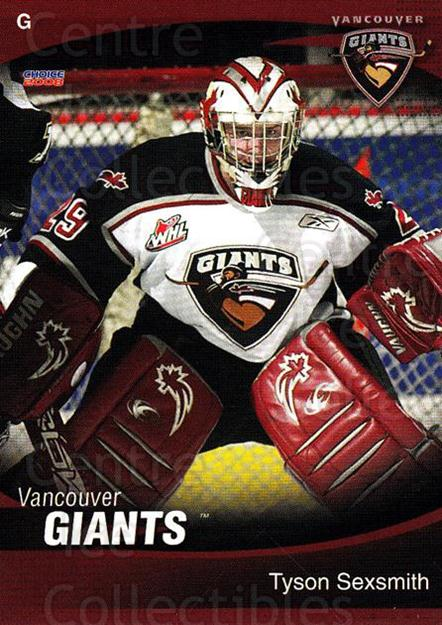 2007-08 Vancouver Giants #23 Tyson Sexsmith<br/>1 In Stock - $3.00 each - <a href=https://centericecollectibles.foxycart.com/cart?name=2007-08%20Vancouver%20Giants%20%2323%20Tyson%20Sexsmith...&quantity_max=1&price=$3.00&code=671358 class=foxycart> Buy it now! </a>