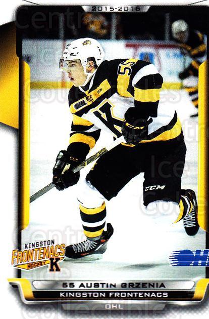 2015-16 Kingston Frontenacs #7 Austin Grzenia<br/>1 In Stock - $3.00 each - <a href=https://centericecollectibles.foxycart.com/cart?name=2015-16%20Kingston%20Frontenacs%20%237%20Austin%20Grzenia...&price=$3.00&code=671454 class=foxycart> Buy it now! </a>