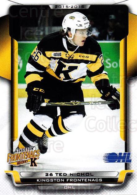 2015-16 Kingston Frontenacs #11 Ted Nichol<br/>1 In Stock - $3.00 each - <a href=https://centericecollectibles.foxycart.com/cart?name=2015-16%20Kingston%20Frontenacs%20%2311%20Ted%20Nichol...&price=$3.00&code=671458 class=foxycart> Buy it now! </a>