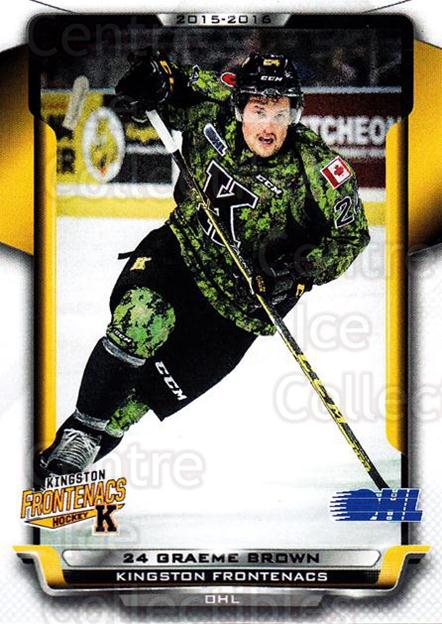 2015-16 Kingston Frontenacs #12 Graeme Brown<br/>1 In Stock - $3.00 each - <a href=https://centericecollectibles.foxycart.com/cart?name=2015-16%20Kingston%20Frontenacs%20%2312%20Graeme%20Brown...&price=$3.00&code=671459 class=foxycart> Buy it now! </a>