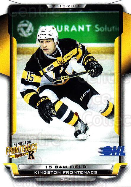 2015-16 Kingston Frontenacs #17 Sam Field<br/>1 In Stock - $3.00 each - <a href=https://centericecollectibles.foxycart.com/cart?name=2015-16%20Kingston%20Frontenacs%20%2317%20Sam%20Field...&price=$3.00&code=671464 class=foxycart> Buy it now! </a>