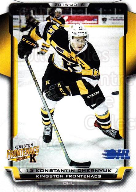 2015-16 Kingston Frontenacs #18 Konstantin Chernyuk<br/>1 In Stock - $3.00 each - <a href=https://centericecollectibles.foxycart.com/cart?name=2015-16%20Kingston%20Frontenacs%20%2318%20Konstantin%20Cher...&price=$3.00&code=671465 class=foxycart> Buy it now! </a>