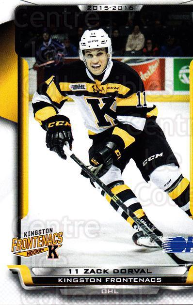 2015-16 Kingston Frontenacs #19 Zack Dorval<br/>1 In Stock - $3.00 each - <a href=https://centericecollectibles.foxycart.com/cart?name=2015-16%20Kingston%20Frontenacs%20%2319%20Zack%20Dorval...&price=$3.00&code=671466 class=foxycart> Buy it now! </a>
