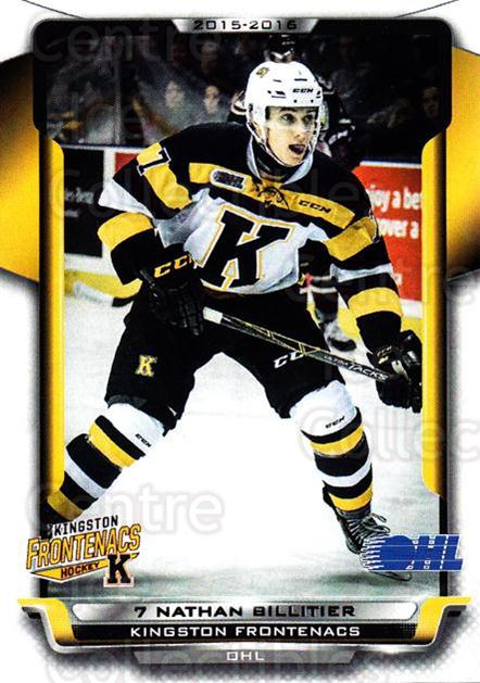 2015-16 Kingston Frontenacs #21 Nathan Billitier<br/>1 In Stock - $3.00 each - <a href=https://centericecollectibles.foxycart.com/cart?name=2015-16%20Kingston%20Frontenacs%20%2321%20Nathan%20Billitie...&price=$3.00&code=671468 class=foxycart> Buy it now! </a>