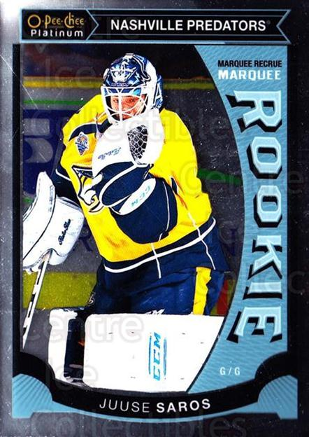2015-16 O-Pee-Chee Platinum Marquee Rookies #27 Juuse Saros<br/>11 In Stock - $3.00 each - <a href=https://centericecollectibles.foxycart.com/cart?name=2015-16%20O-Pee-Chee%20Platinum%20Marquee%20Rookies%20%2327%20Juuse%20Saros...&quantity_max=11&price=$3.00&code=671499 class=foxycart> Buy it now! </a>