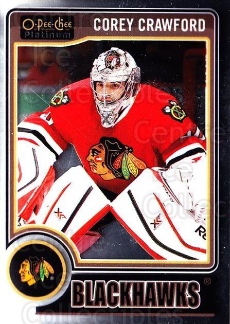 2014-15 O-Pee-Chee Platinum #99 Corey Crawford<br/>2 In Stock - $1.00 each - <a href=https://centericecollectibles.foxycart.com/cart?name=2014-15%20O-Pee-Chee%20Platinum%20%2399%20Corey%20Crawford...&quantity_max=2&price=$1.00&code=671621 class=foxycart> Buy it now! </a>