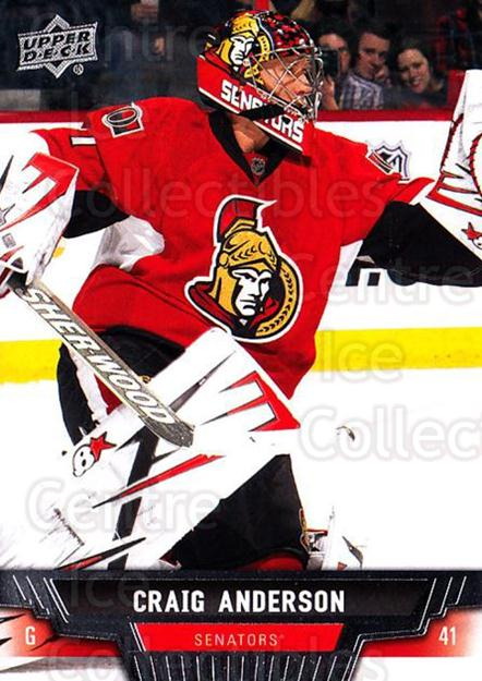2013-14 Upper Deck #43 Craig Anderson<br/>20 In Stock - $1.00 each - <a href=https://centericecollectibles.foxycart.com/cart?name=2013-14%20Upper%20Deck%20%2343%20Craig%20Anderson...&quantity_max=20&price=$1.00&code=672631 class=foxycart> Buy it now! </a>
