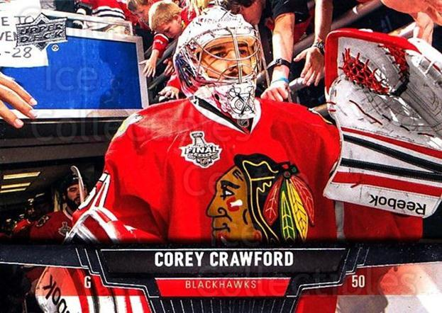 2013-14 Upper Deck #113 Corey Crawford<br/>20 In Stock - $1.00 each - <a href=https://centericecollectibles.foxycart.com/cart?name=2013-14%20Upper%20Deck%20%23113%20Corey%20Crawford...&quantity_max=20&price=$1.00&code=672701 class=foxycart> Buy it now! </a>