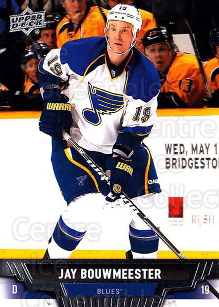 2013-14 Upper Deck #121 Jay Bouwmeester<br/>20 In Stock - $1.00 each - <a href=https://centericecollectibles.foxycart.com/cart?name=2013-14%20Upper%20Deck%20%23121%20Jay%20Bouwmeester...&quantity_max=20&price=$1.00&code=672709 class=foxycart> Buy it now! </a>