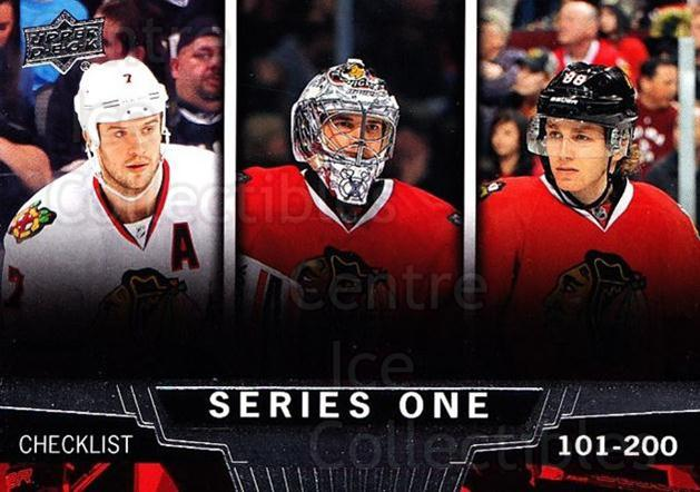 2013-14 Upper Deck #200 Brent Seabrook, Corey Crawford, Patrick Kane, Checklist<br/>18 In Stock - $2.00 each - <a href=https://centericecollectibles.foxycart.com/cart?name=2013-14%20Upper%20Deck%20%23200%20Brent%20Seabrook,...&quantity_max=18&price=$2.00&code=672788 class=foxycart> Buy it now! </a>