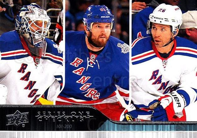 2014-15 Upper Deck #200 Henrik Lundqvist, Rick Nash, Martin St. Louis, Checklist<br/>22 In Stock - $1.00 each - <a href=https://centericecollectibles.foxycart.com/cart?name=2014-15%20Upper%20Deck%20%23200%20Henrik%20Lundqvis...&quantity_max=22&price=$1.00&code=673288 class=foxycart> Buy it now! </a>