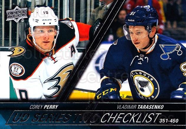 2015-16 Upper Deck #450 Corey Perry, Vladimir Tarasenko, Checklist<br/>13 In Stock - $1.00 each - <a href=https://centericecollectibles.foxycart.com/cart?name=2015-16%20Upper%20Deck%20%23450%20Corey%20Perry,%20Vl...&quantity_max=13&price=$1.00&code=674068 class=foxycart> Buy it now! </a>