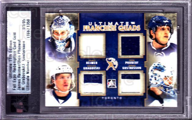 2011 ITG Ultimate Memorabilia Franchise Quads Gold #39 James Reimer, Dion Phaneuf, Mikhail Grabovski, Jonas Gustavsson<br/>1 In Stock - $40.00 each - <a href=https://centericecollectibles.foxycart.com/cart?name=2011%20ITG%20Ultimate%20Memorabilia%20Franchise%20Quads%20Gold%20%2339%20James%20Reimer,%20D...&price=$40.00&code=674558 class=foxycart> Buy it now! </a>