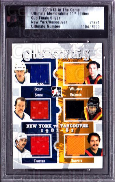 2011-12 ITG Ultimate Memorabilia Cup Finals #2 Mike Bossy, Billy Smith, Bryan Trottier, Tiger Williams, Richard Brodeur, Harold Snepsts<br/>2 In Stock - $20.00 each - <a href=https://centericecollectibles.foxycart.com/cart?name=2011-12%20ITG%20Ultimate%20Memorabilia%20Cup%20Finals%20%232%20Mike%20Bossy,%20Bil...&price=$20.00&code=676731 class=foxycart> Buy it now! </a>
