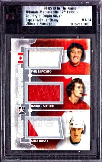 2012-13 ITG Ultimate Memorabilia Country of Origin #3 Phil Esposito , Darryl Sittler, Mike Bossy<br/>1 In Stock - $25.00 each - <a href=https://centericecollectibles.foxycart.com/cart?name=2012-13%20ITG%20Ultimate%20Memorabilia%20Country%20of%20Origin%20%233%20Phil%20Esposito%20,...&price=$25.00&code=677540 class=foxycart> Buy it now! </a>