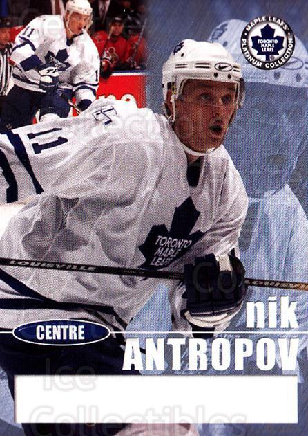 2002-03 Toronto Maple Leafs Platinum #21 Nik Antropov<br/>8 In Stock - $5.00 each - <a href=https://centericecollectibles.foxycart.com/cart?name=2002-03%20Toronto%20Maple%20Leafs%20Platinum%20%2321%20Nik%20Antropov...&quantity_max=8&price=$5.00&code=677752 class=foxycart> Buy it now! </a>