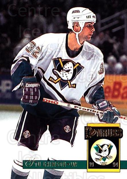 1993-94 Donruss #15 Stu Grimson<br/>4 In Stock - $1.00 each - <a href=https://centericecollectibles.foxycart.com/cart?name=1993-94%20Donruss%20%2315%20Stu%20Grimson...&quantity_max=4&price=$1.00&code=6778 class=foxycart> Buy it now! </a>