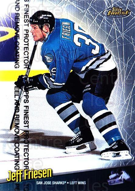 1998-99 Finest #32 Jeff Friesen<br/>4 In Stock - $1.00 each - <a href=https://centericecollectibles.foxycart.com/cart?name=1998-99%20Finest%20%2332%20Jeff%20Friesen...&quantity_max=4&price=$1.00&code=67831 class=foxycart> Buy it now! </a>
