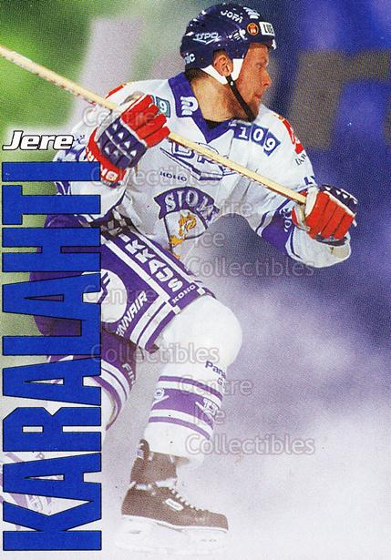 1998-99 Finnish Cardset Leijonat #7 Jere Karalahti<br/>2 In Stock - $3.00 each - <a href=https://centericecollectibles.foxycart.com/cart?name=1998-99%20Finnish%20Cardset%20Leijonat%20%237%20Jere%20Karalahti...&quantity_max=2&price=$3.00&code=67959 class=foxycart> Buy it now! </a>