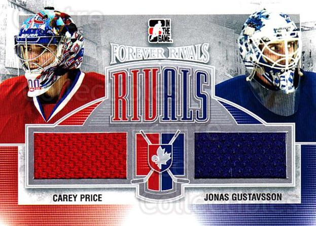 2012-13 ITG Forever Rivals Dual Rivals Jersey Silver #6 Jonas Gustavsson, Carey Price<br/>1 In Stock - $10.00 each - <a href=https://centericecollectibles.foxycart.com/cart?name=2012-13%20ITG%20Forever%20Rivals%20Dual%20Rivals%20Jersey%20Silver%20%236%20Jonas%20Gustavsso...&price=$10.00&code=680719 class=foxycart> Buy it now! </a>