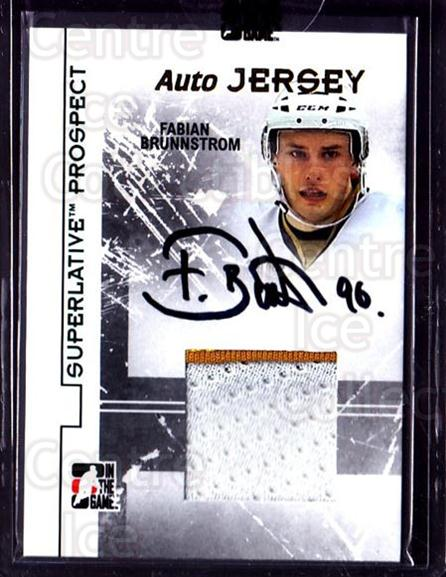 2009-10 ITG Superlative Prospect Jersey Auto Gold #PAJFB Fabian Brunnstrom<br/>1 In Stock - $20.00 each - <a href=https://centericecollectibles.foxycart.com/cart?name=2009-10%20ITG%20Superlative%20Prospect%20Jersey%20Auto%20Gold%20%23PAJFB%20Fabian%20Brunnstr...&price=$20.00&code=681744 class=foxycart> Buy it now! </a>