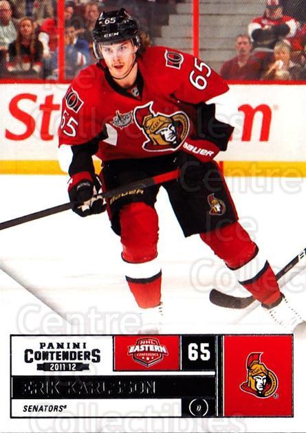 2011-12 Panini Contenders #65 Erik Karlsson<br/>3 In Stock - $1.00 each - <a href=https://centericecollectibles.foxycart.com/cart?name=2011-12%20Panini%20Contenders%20%2365%20Erik%20Karlsson...&quantity_max=3&price=$1.00&code=682864 class=foxycart> Buy it now! </a>