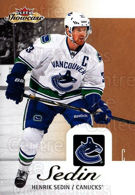 2013-14 Fleer Showcase #94 Henrik Sedin<br/>5 In Stock - $1.00 each - <a href=https://centericecollectibles.foxycart.com/cart?name=2013-14%20Fleer%20Showcase%20%2394%20Henrik%20Sedin...&quantity_max=5&price=$1.00&code=683324 class=foxycart> Buy it now! </a>